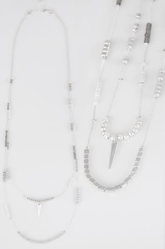 Silver Double Layer Necklace With Beading
