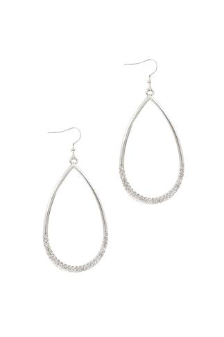 Silver Drop Hoops With Diamante Detail