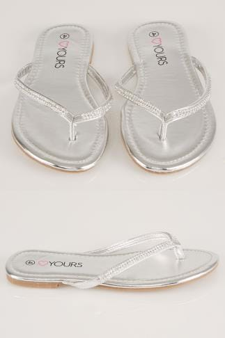Wide Fit Flat Shoes Silver Flip Flop With Diamante Trim In EEE Fit 154011