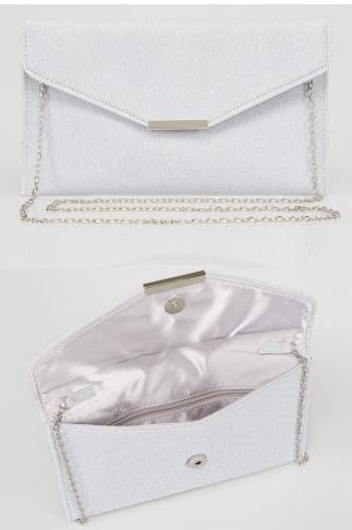 Silver Glitter Clutch Bag With Cross Body Chain