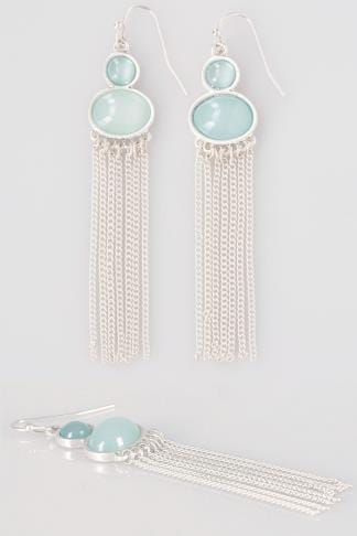 Silver & Green Stone Drop Tassel Earrings
