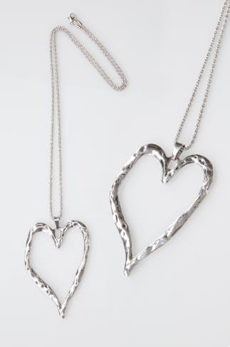 Necklaces Silver Hammered Heart Pendant Necklace 152184