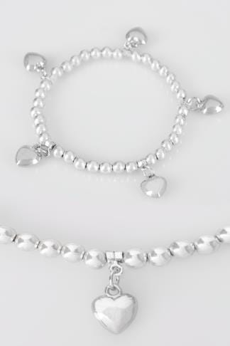 Silver Heart Charm Stretch Bracelet