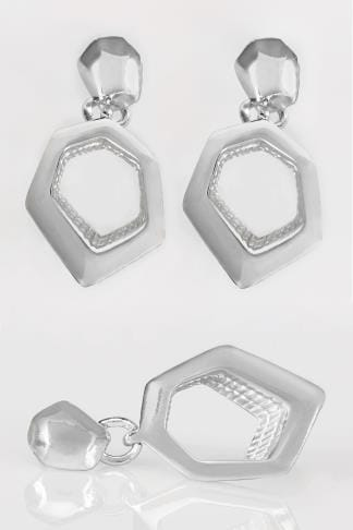 Silver Hexagon Dangle Earrings