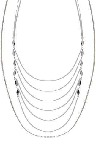 Silver Layered Chain Long Necklace