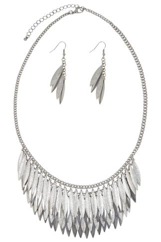 Silver Layered Leaf & Earring Set