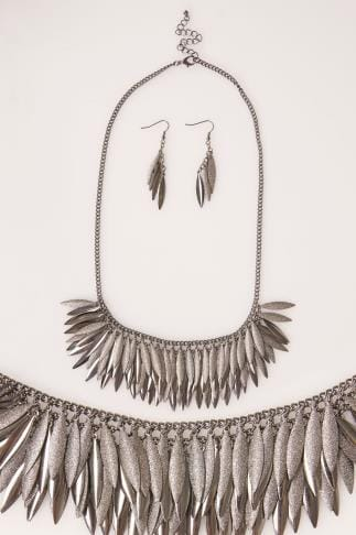 Jewellery Silver Layered Leaf Necklace & Earrings 102757