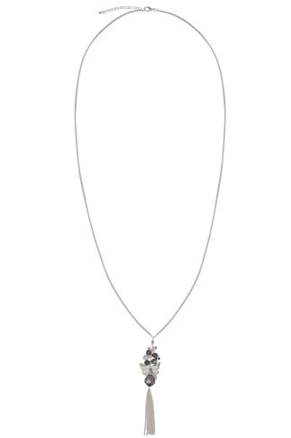 Silver Long Necklace With Butterfly & Bead Tassel Pendant