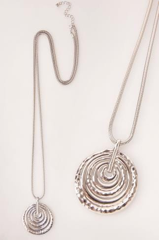 Necklaces Silver Long Necklace With Coin Coil Pendant 152181