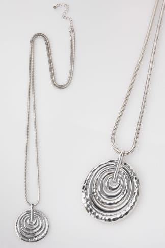 Silver Long Necklace With Coin Coil Pendant