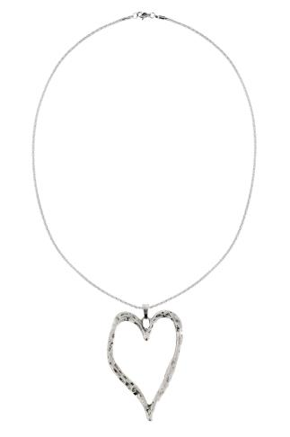 Silver Long Necklace With Large Heart Pendant 152131