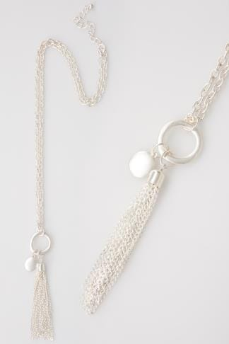 Silver Long Necklace With Tassel & Charm