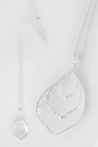 Necklaces Silver Long Necklace With Triple Leaf Pendant 152185