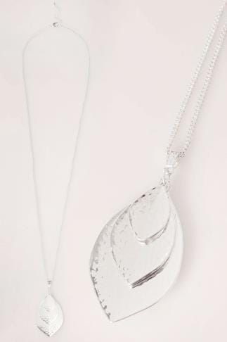 Silver Long Necklace With Triple Leaf Pendant