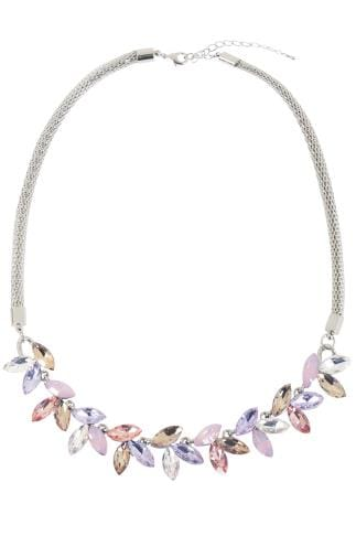 Necklaces Silver Necklace With Pastel Diamante Finish 152186