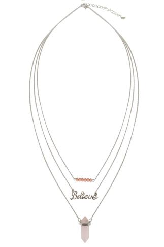 Silver & Pink Stone Triple Layer 'Believe' Necklace
