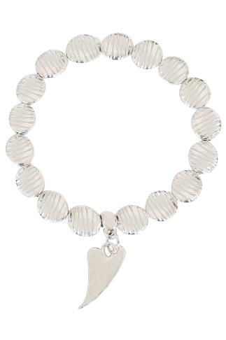 Silver Shell Bead Bracelet With Heart Pendant