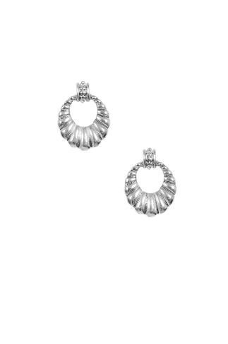 Silver Shell Circle Cut Out Earrings