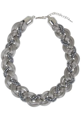 Silver Snake Chain & Bead Twisted Necklace