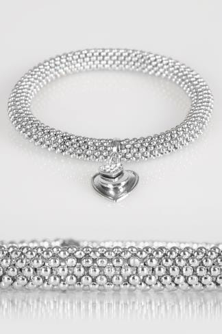 Jewellery Silver Chain Bracelet With Heart Charm 102749
