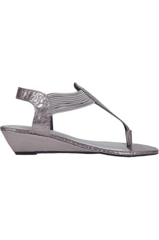 Silver Snake Print Wedge Elasticated Toe Post Sandal In EEE Fit 056470