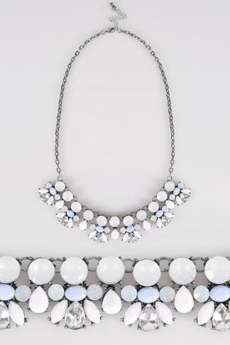 Silver Stone Embellished Statement Necklace
