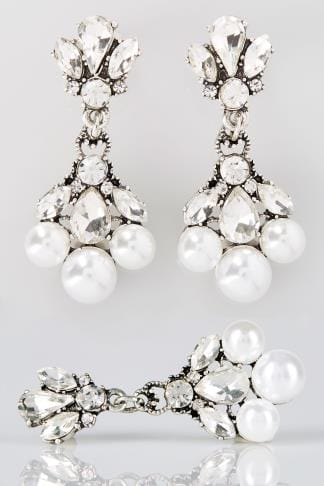 Silver Stone & Pearlescent Drop Earrings