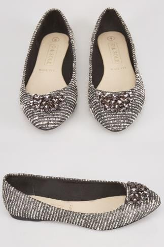 Wide Fit Flat Shoes Silver Textured Ballerina Pumps With Jewel Detail In E Fit 102453