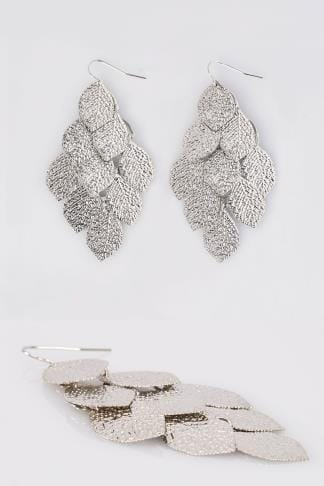 Silver Textured Leaf Dangle Earrings
