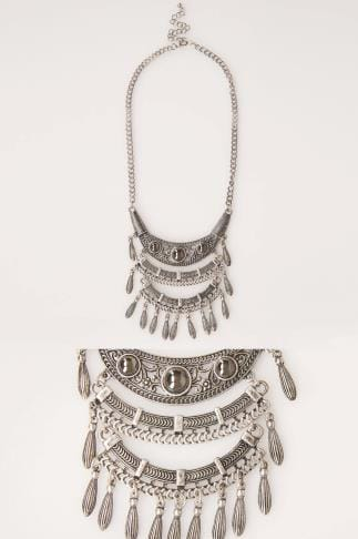 Jewellery Silver Tribal Layer Pendant Necklace 152128
