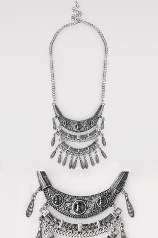Silver Tribal Layer Pendant Necklace