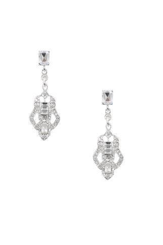 Silver Vintage Style Diamante Drop Earrings