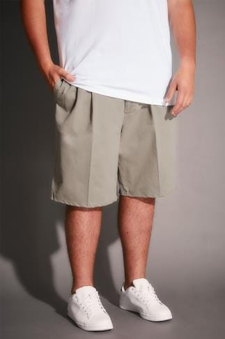 Chino Shorts Stone Chino Shorts With Elasticated Waist Insert 110472