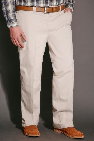 Stone Chino Trousers With Stretch Waist