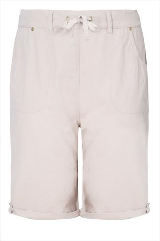 Stone Cool Cotton Roll Up Shorts With Tab & Button Detail