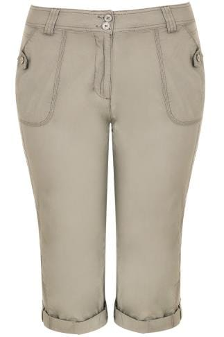Cool Cotton Crops Stone Cotton Cargo Cropped Trousers 170208