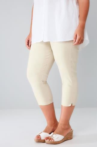 Stone Pull On Stretch Cropped Trousers 144057