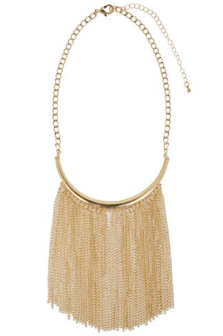 Gold Chain Tassel Chocker Necklace