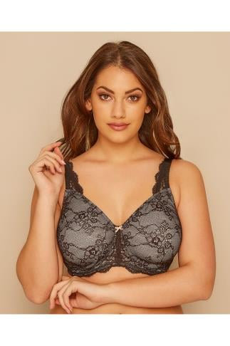 Wired Bras TRIUMPH Black & Nude Lace Contouring Sensation Minimiser Bra 138424
