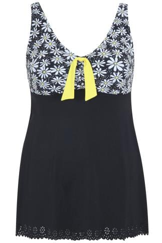 TUMMY CONTROL Black Daisy Print Cut Out Detail Swimdress