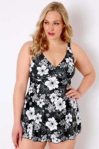 Swim Dresses TUMMY CONTROL Black & White Floral Print Princess Seam Swimdress 102993