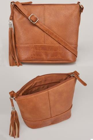 Bags & Purses Tan Bucket Bag With Adjustable Strap With Tassel Zip 101212