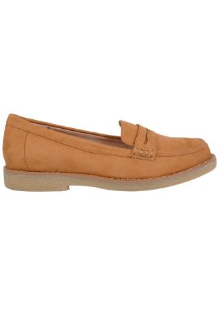 Tan COMFORT INSOLE Faux Suede Slip On Loafer In E Fit