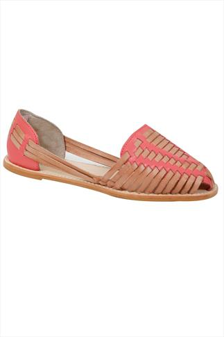 Tan & Pink Leather Huarache Sandal In E Fit