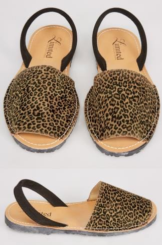 Wide Fit Sandals Tan Real Leather Leopard Print Peep Toe Sandals In E Fit 053227