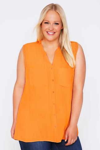 Tangerine Orange Crochet Detail Crepe Sleeveless Blouse With Pockets