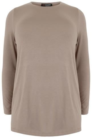 YOURS LONDON Taupe Brown Long Sleeve Soft Touch Jersey Top