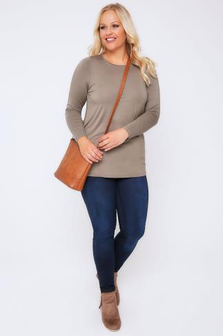 Day Tops Taupe Brown Long Sleeve Soft Touch Jersey Top 102696