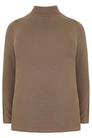 Taupe Brown Turtle Neck Long Sleeved Soft Touch Jersey Top