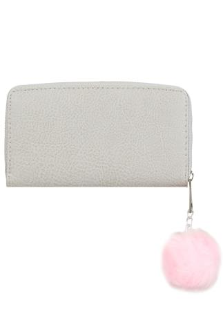 Taupe Faux Leather Zip Around Purse With Pink Pompom Charm